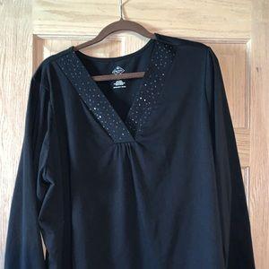 Black sequined 3x women's shirt